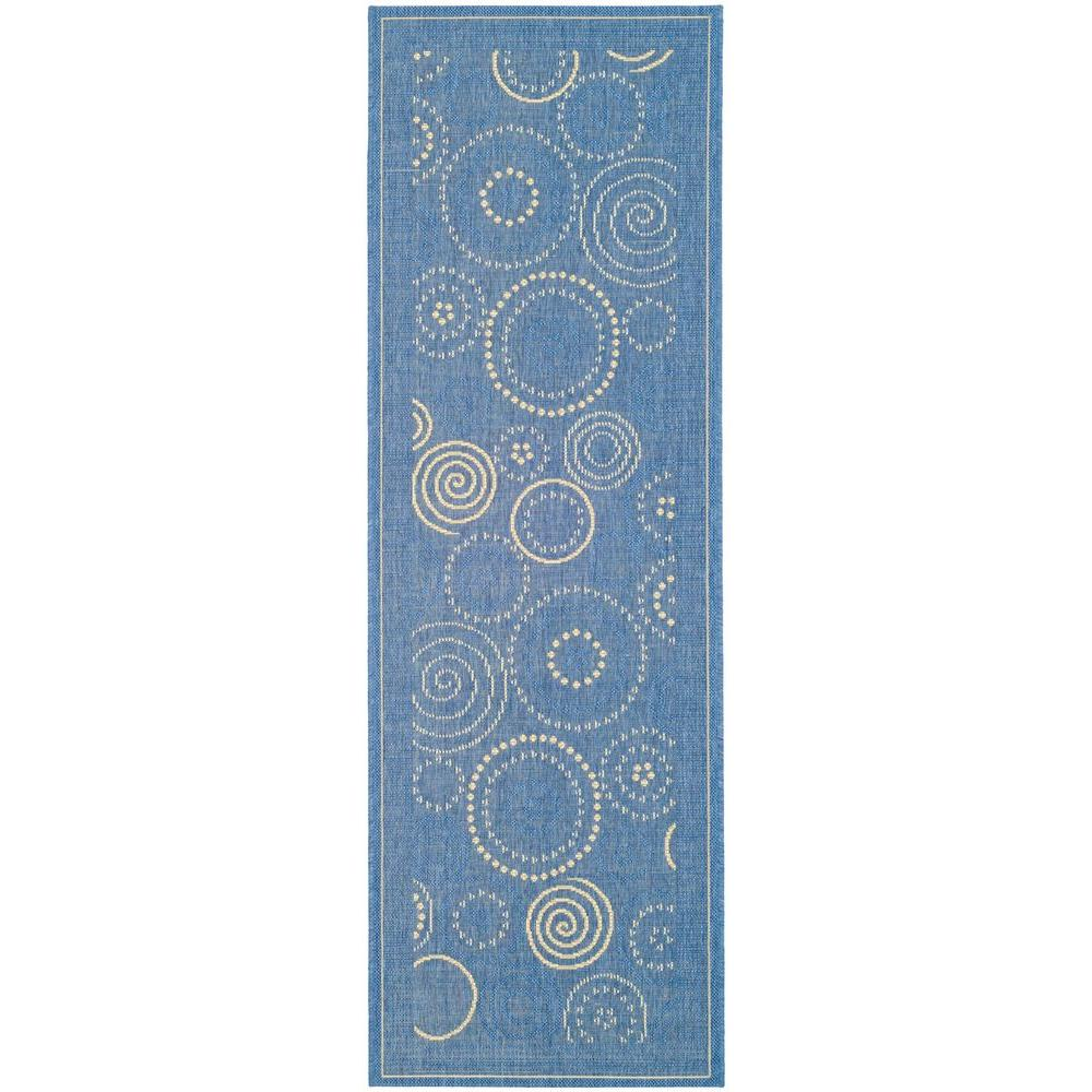 Safavieh Courtyard Blue/Natural 2 ft. 3 in. x 10 ft. Indoor/Outdoor Runner