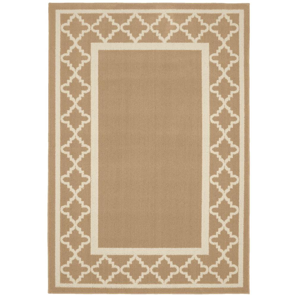 Garland Rug Moroccan Frame Tan Ivory 5 Ft X 7 Ft Area Rug Ll190a060084g3 The Home Depot