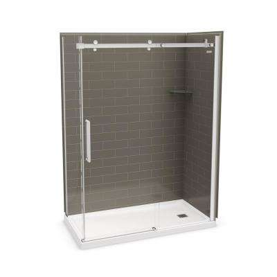 Utile Metro 32 in. x 60 in. x 83.5 in. Right Drain Corner Shower Kit in Thunder Grey with Chrome Shower Door