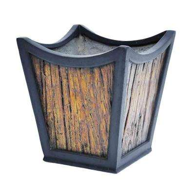 13 in. sq. Black Composite Metal on Wood Tapered Sol Planter