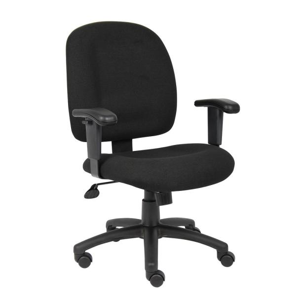 Black Fabric Task Chair with Adjustable Arms