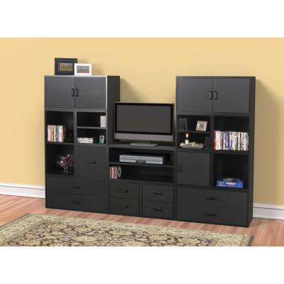 15 in. Black 2-Drawer Cube
