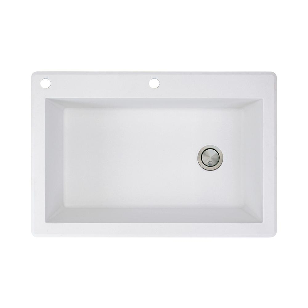 Transolid Radius Drop-in Granite 33 in. 2-Hole Single Bowl Kitchen Sink in White