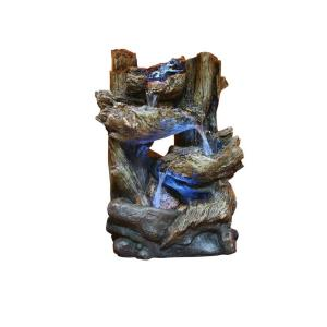Alpine Tiered Log Statue Fountain with LED Lights by Alpine