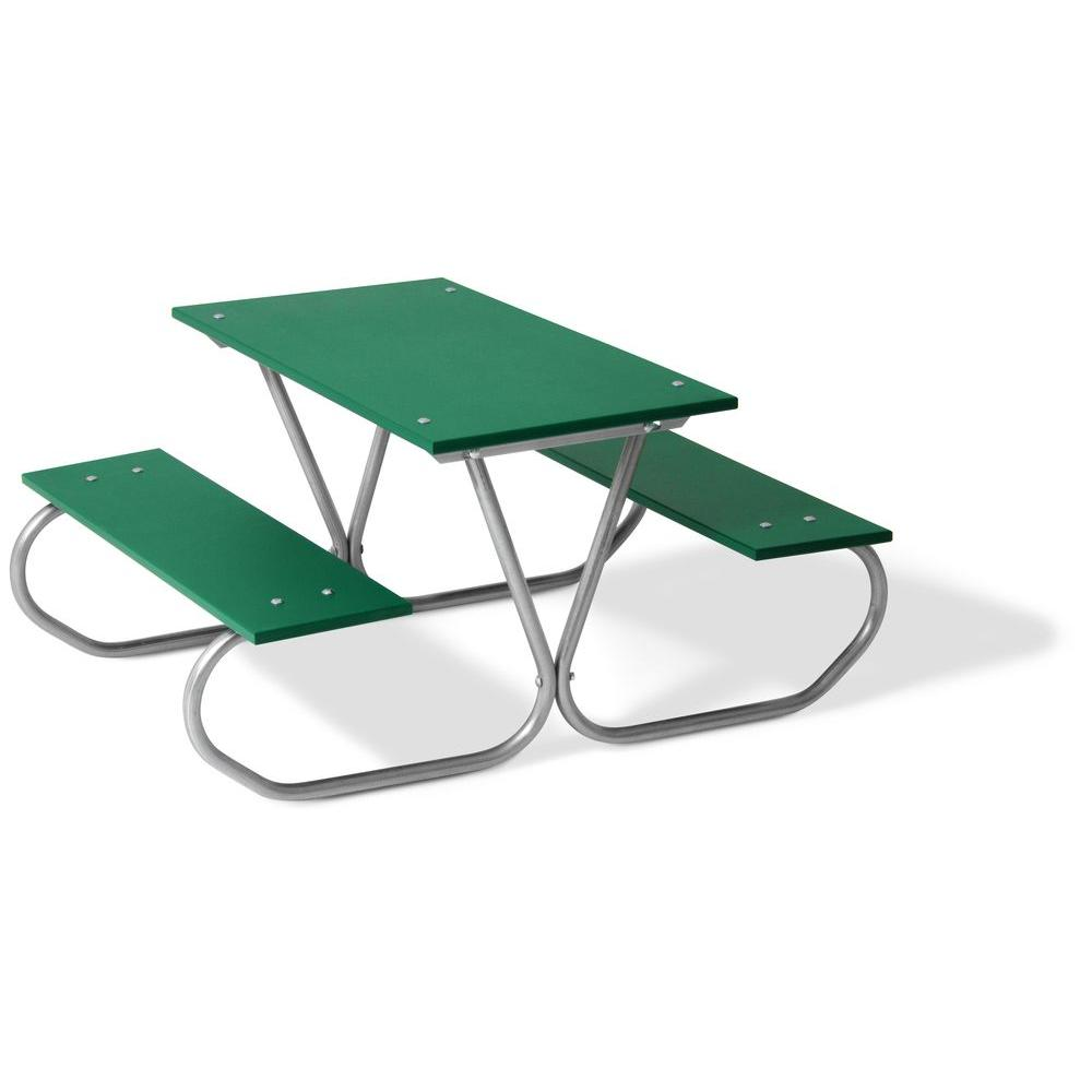 Ultra Play Commercial Park 3 ft. Green Polyethylene Planks Portable Preschool Table