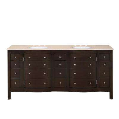 72 in. W x 22 in. D Vanity in Dark Walnut with Marble Vanity Top in Crema Marfil with White Basin