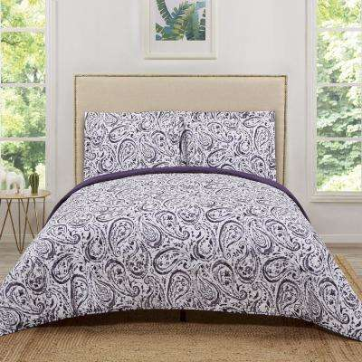 Watercolor Paisley Eggplant Damask Twin XL Quilt Set