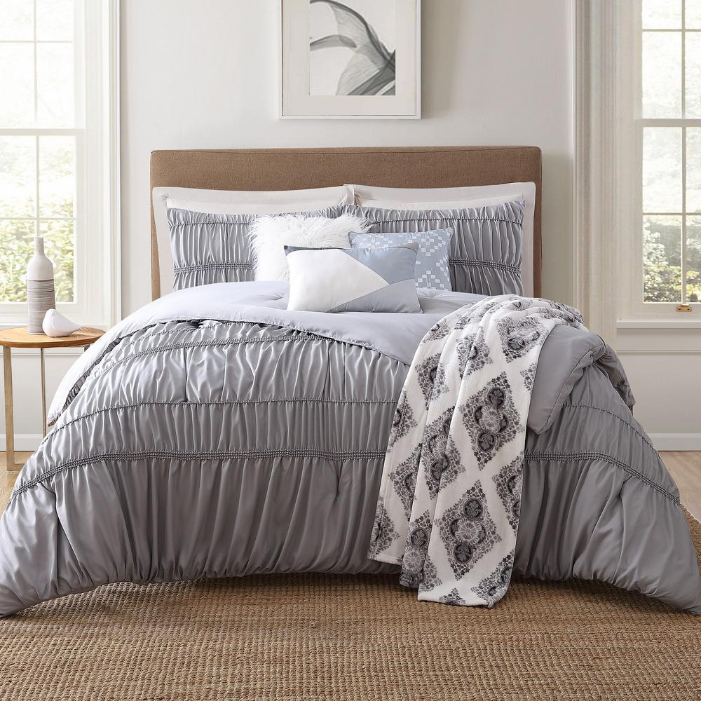 Jennifer adams home lending 7 piece gray king comforter set