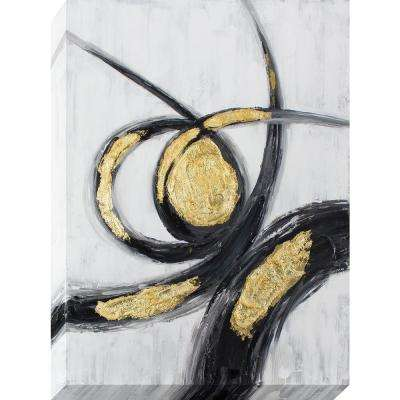 40 in. x 30 in. Gold and Black Gestures Oil Painted Canvas Wall Art