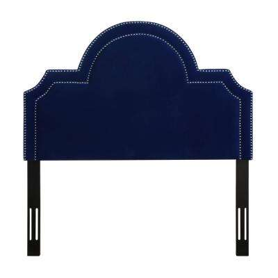 Laylah Pebbled Navy/Velvet Full Headboard