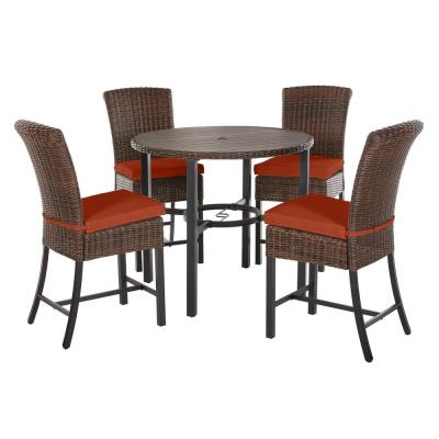 Harper Creek 5-Piece Brown Steel Outdoor Patio Bar Height Dining Set with CushionGuard Quarry Red Cushions
