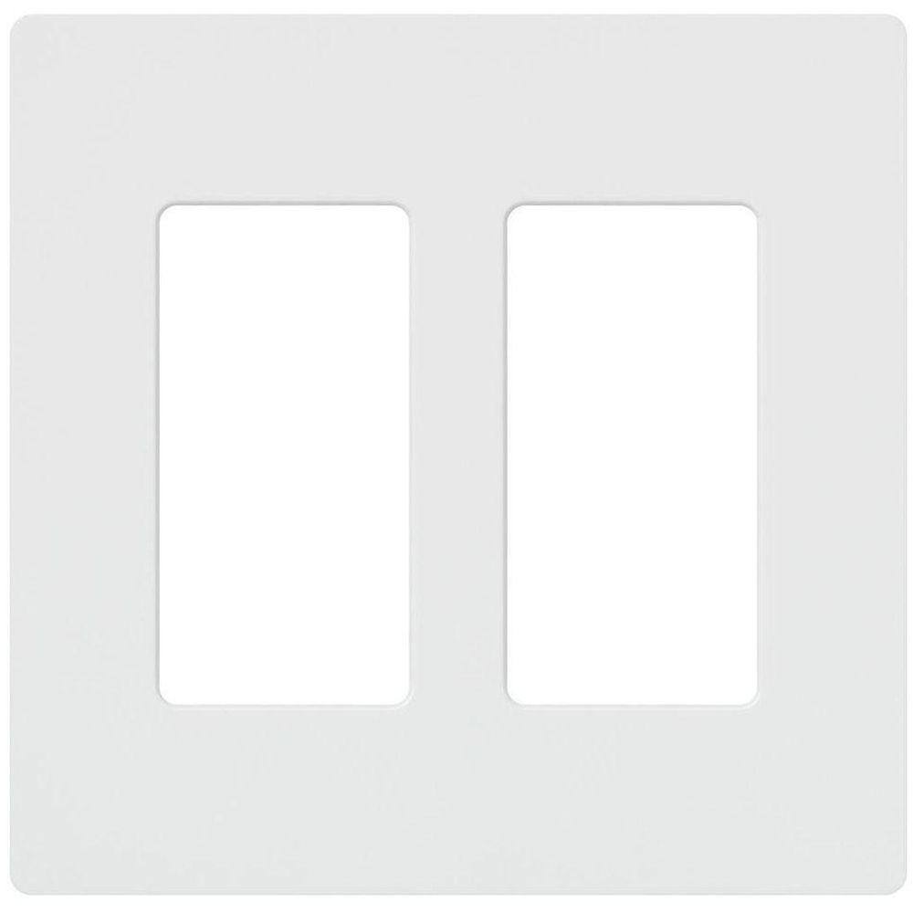 lutron claro 2 gang wall plate white cw 2 wh the home depot. Black Bedroom Furniture Sets. Home Design Ideas