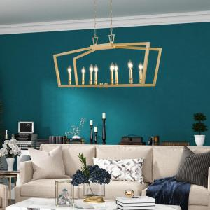Deals on Uolfin Lind Modern 8-Light Gold Island Candlestick Chandelier