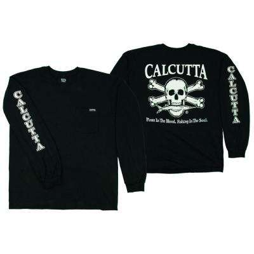 Adult Extra Original Logo Long Sleeved Front Pocket T-Shirt in Black