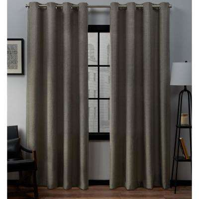 Loha 52 in. W x 84 in. L Linen Blend Grommet Top Curtain Panel in Cafe (2 Panels)