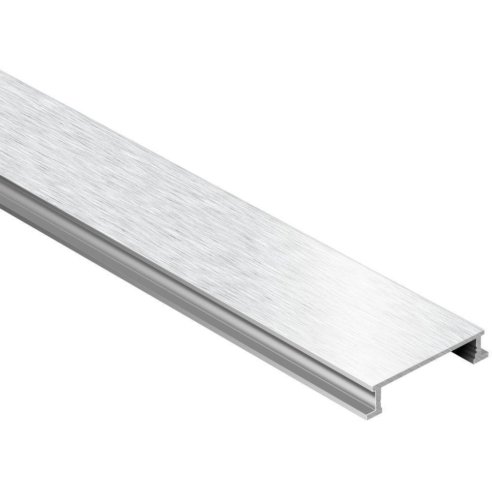 Designline Brushed Chrome Anodized Aluminum 1/4 in. x 8 ft. 2-1/2 in. Metal Border Tile Edging Trim