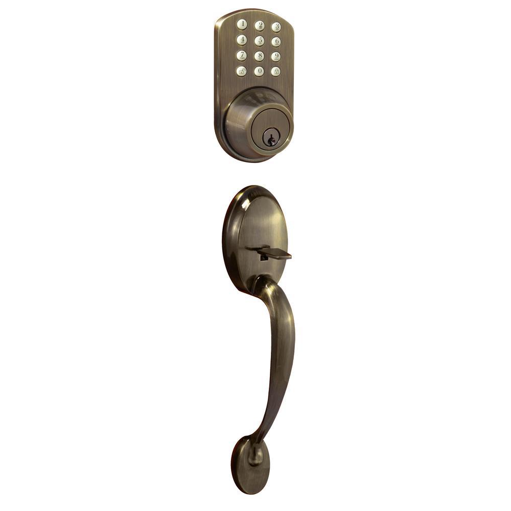 Antique Brass Keyless Entry Deadbolt and Door Handleset Lock with Electronic Digital Keypad
