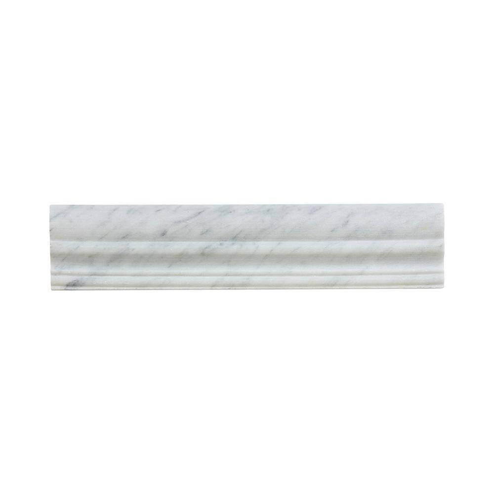 Jeffrey Court Carrara 2.5 in. x 11.875 in. Natural Stone Accent and Trim Wall Tile