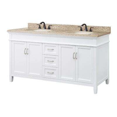 Ashburn 61 in. W x 22 in. D Vanity in White with Granite Vanity Top in Beige with White Sink