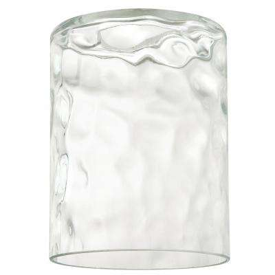5-1/4 in. Clear Hammered Cylinder Shade with 2-1/4 in. Fitter and 4 in. Width