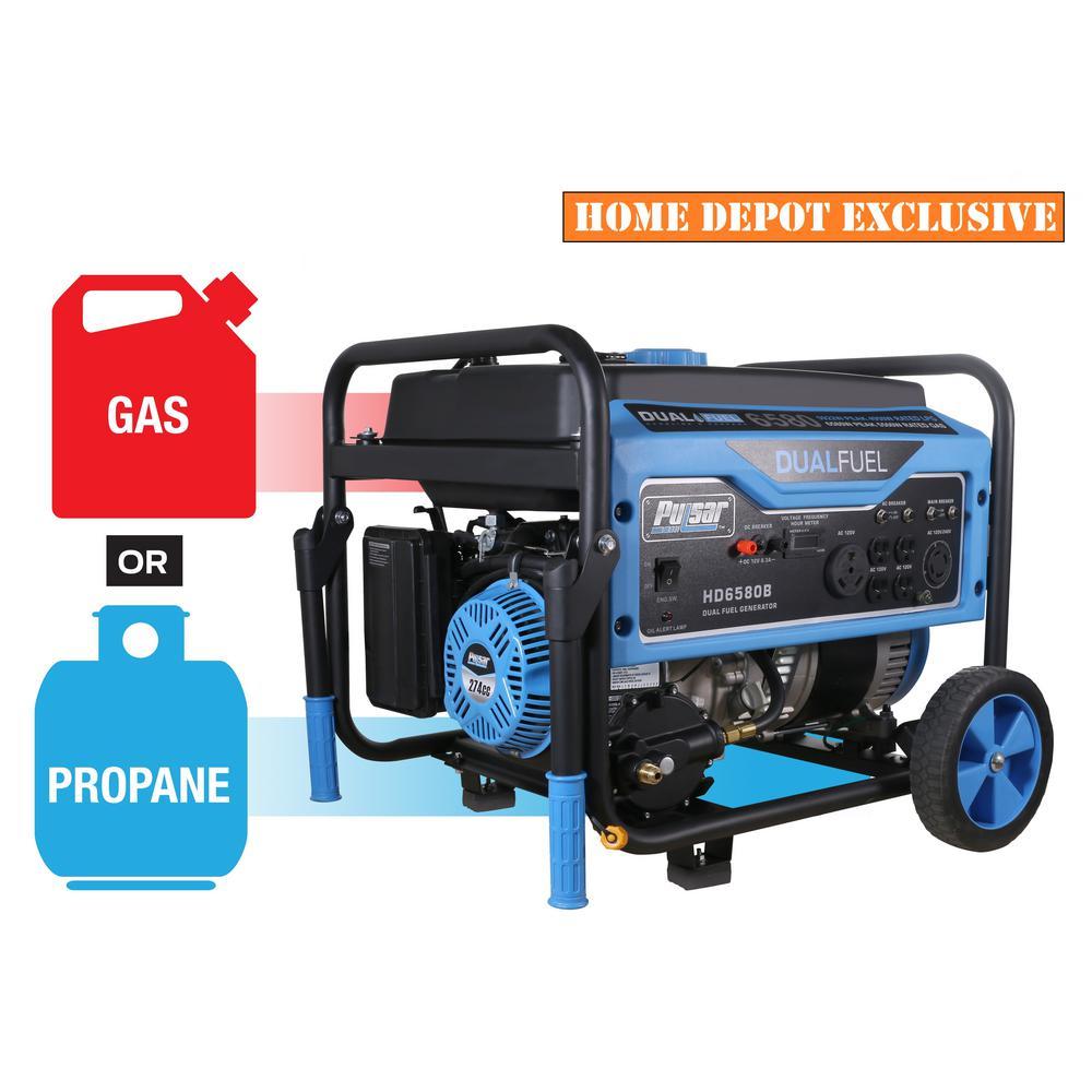 Pulsar 500 Watt Dual Fuel Gasoline Portable Generator With CARB Compliant 274cc Engine