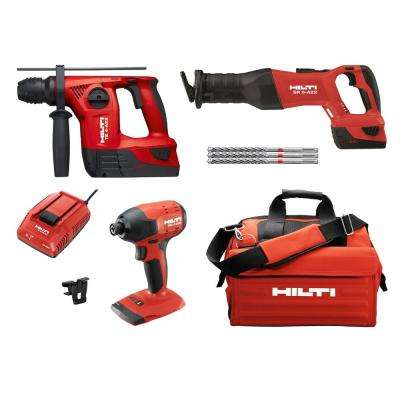 22-Volt Lithium-Ion Cordless SDS Chuck Hammer Drill/Reciprocating Saw/Impact Drill Driver Combo Kit (3-Tool)