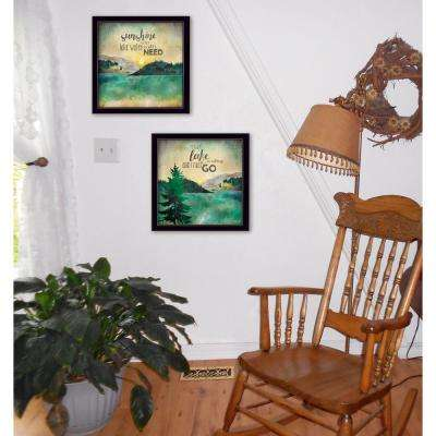 "14 in. x 28 in. ""The Lake"" by Marla Rae Printed Framed Wall Art"