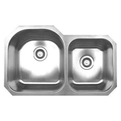 Noah's Collection Undermount Brushed Stainless Steel 31.88 in. 0-Hole Double Bowl Kitchen Sink