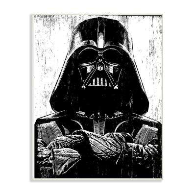 "12.5 in. x 18.5 in. ""Black and White Star Wars Darth Vader Distressed Wood Etching"" by Artist Neil Shigley Wood Wall Art"