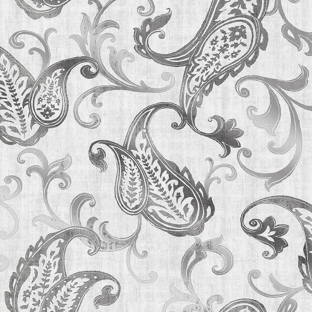 Darro Silver Global Paisley Wallpaper Sample