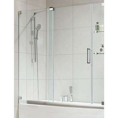 Oasis-E Premium 60 in. x 58 in. Semi-Framed Sliding Shower Door in Chrome with Tempered Clear Glass
