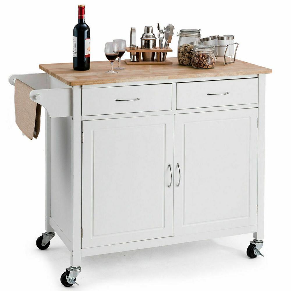 White Modern Rolling Kitchen Cart Island Wood Top Storage Trolley Cabinet Utility
