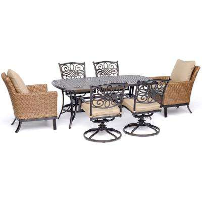 Traditions 7-Piece Aluminum Outdoor Dining Set with 2-Woven Arm Chairs 4-Swivel Rockers 38 in. x 72 in. Cast-Top Table