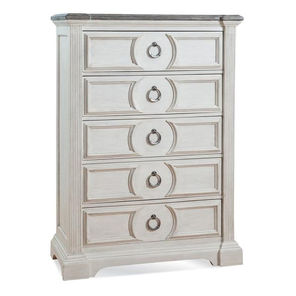 Brighten 5-Drawer Antique White and Charcoal Chest of Drawers