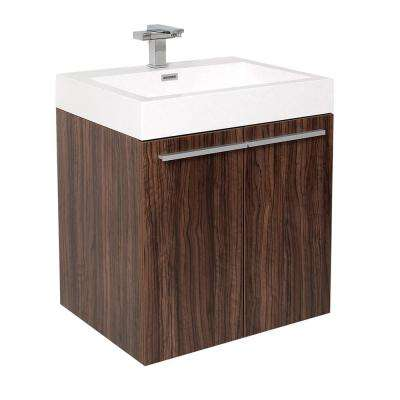 Alto 23 in. Bath Vanity in Walnut with Acrylic Vanity Top in White with White Basin