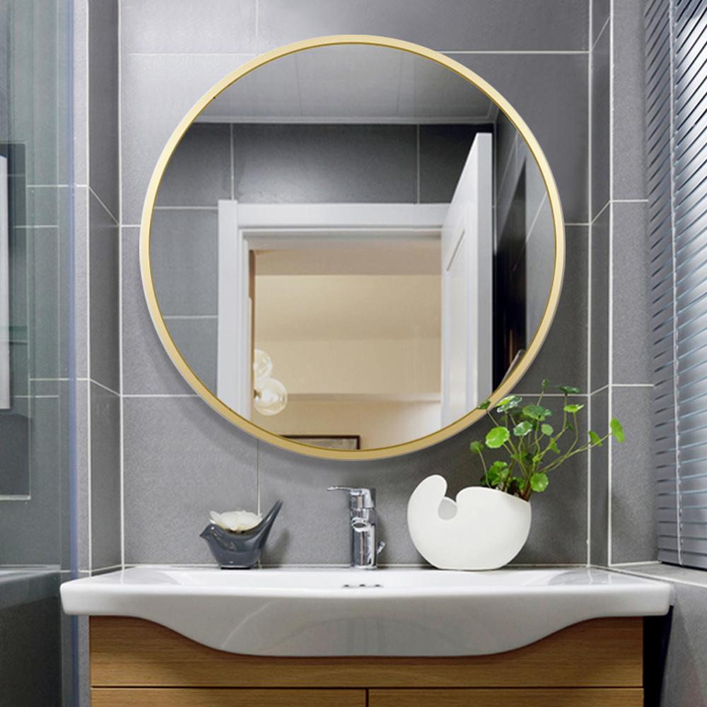 Unbranded Neutype 24 Inches Large Modern And Contemporary Aluminum Alloy Metal Framed Gold Round Bathroom Vanity Wall Mounting Jj00514zze The Home Depot
