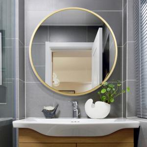 NeuType 24 inches Large Modern and Contemporary Aluminum Alloy Metal Framed Gold Round Bathroom/Vanity/Wall Mounting