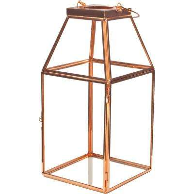 Mika 4.5 in. W x 10 in. H Rose Gold Faceted Glass Lantern Terrarium