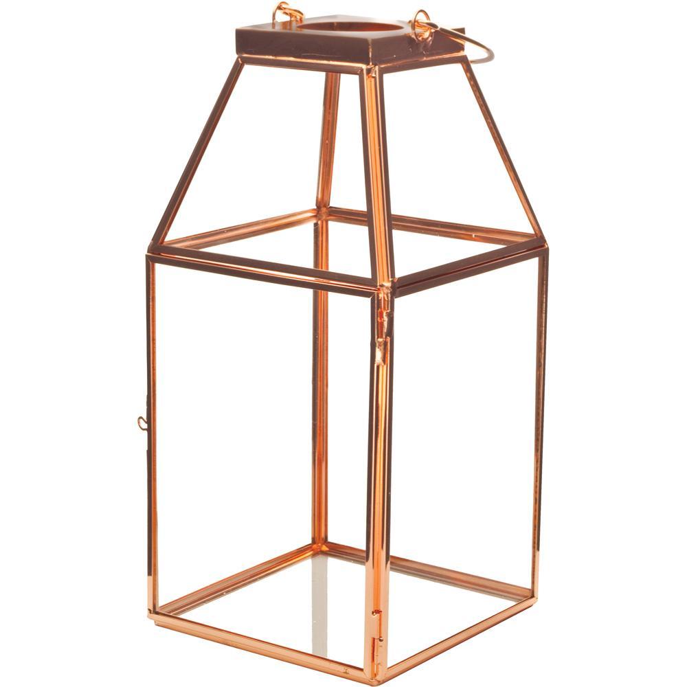 Mika 4.5 in. W x 10 in. H Rose Gold Faceted Glass Lantern Terrarium