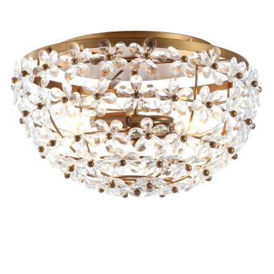 Isabelle Antique Gold 15.5 in. Metal/Acrylic LED Flushmount