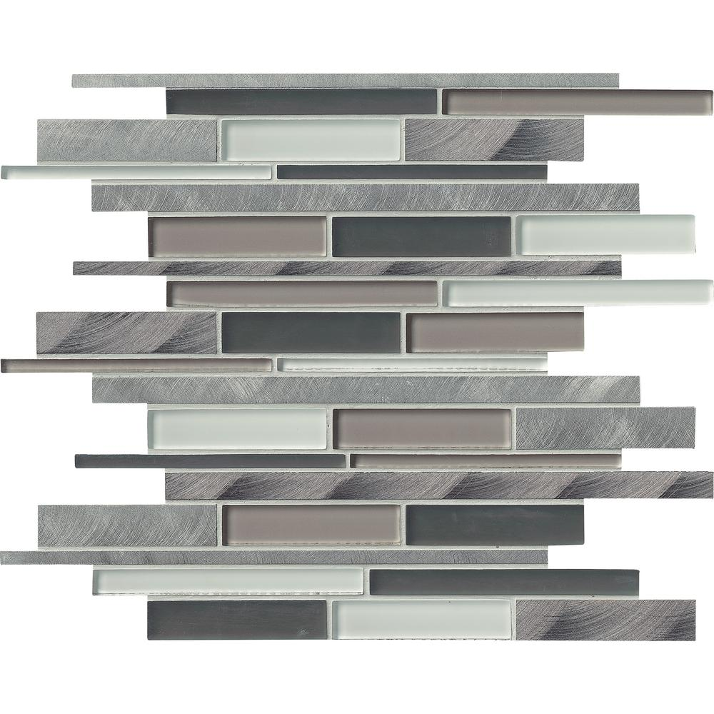MSI Cityscape Interlocking 12 in. x 12 in. x 8 mm Glass and Metal Mesh-Mounted Mosaic Wall Tile (10 sq. ft. / case)