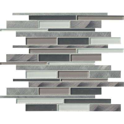 Cityscape Interlocking 12 in. x 12 in. x 8 mm Glass and Metal Mesh-Mounted Mosaic Wall Tile (10 sq. ft. / case)
