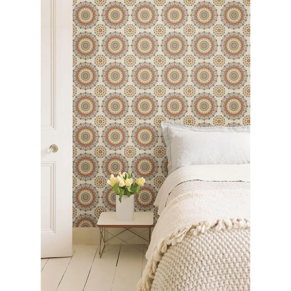 Gemma Coral Boho Medallion Wallpaper