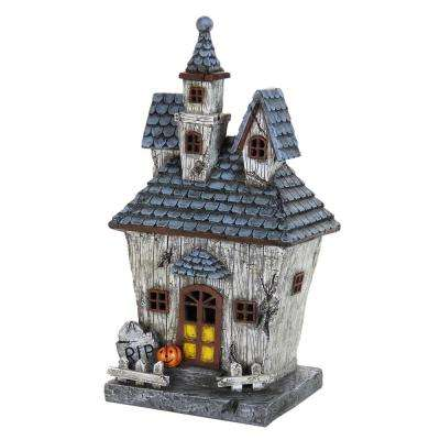 14 in. LED Resin Halloween House - Battery Powered with Timer