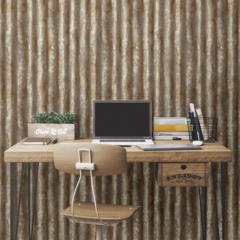 Brewster Rust Corrugated Metal Industrial Texture Wallpaper