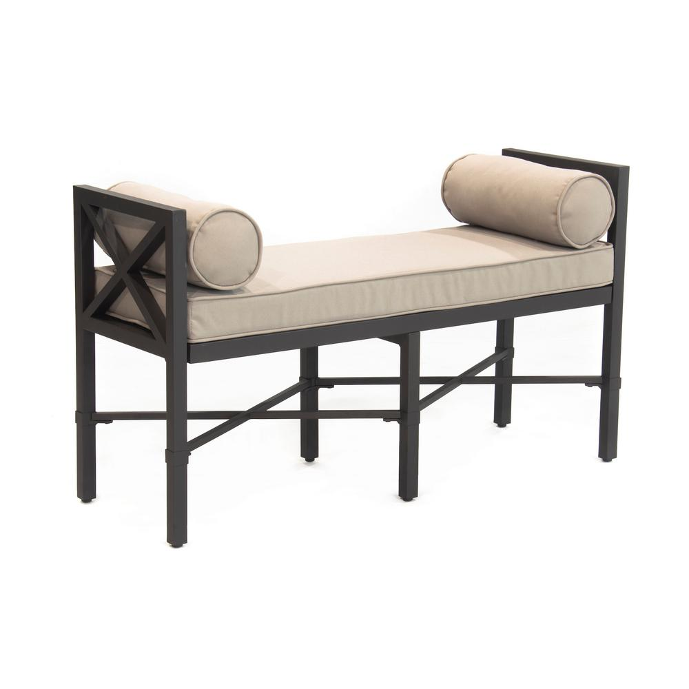 Leisure Made Camden 2-Person Aluminum Outdoor Bench with Tan Cushions was $339.43 now $199.0 (41.0% off)