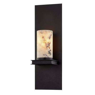 Catalonia 1-Light Textured Black Frame White Marble Shade Sconce
