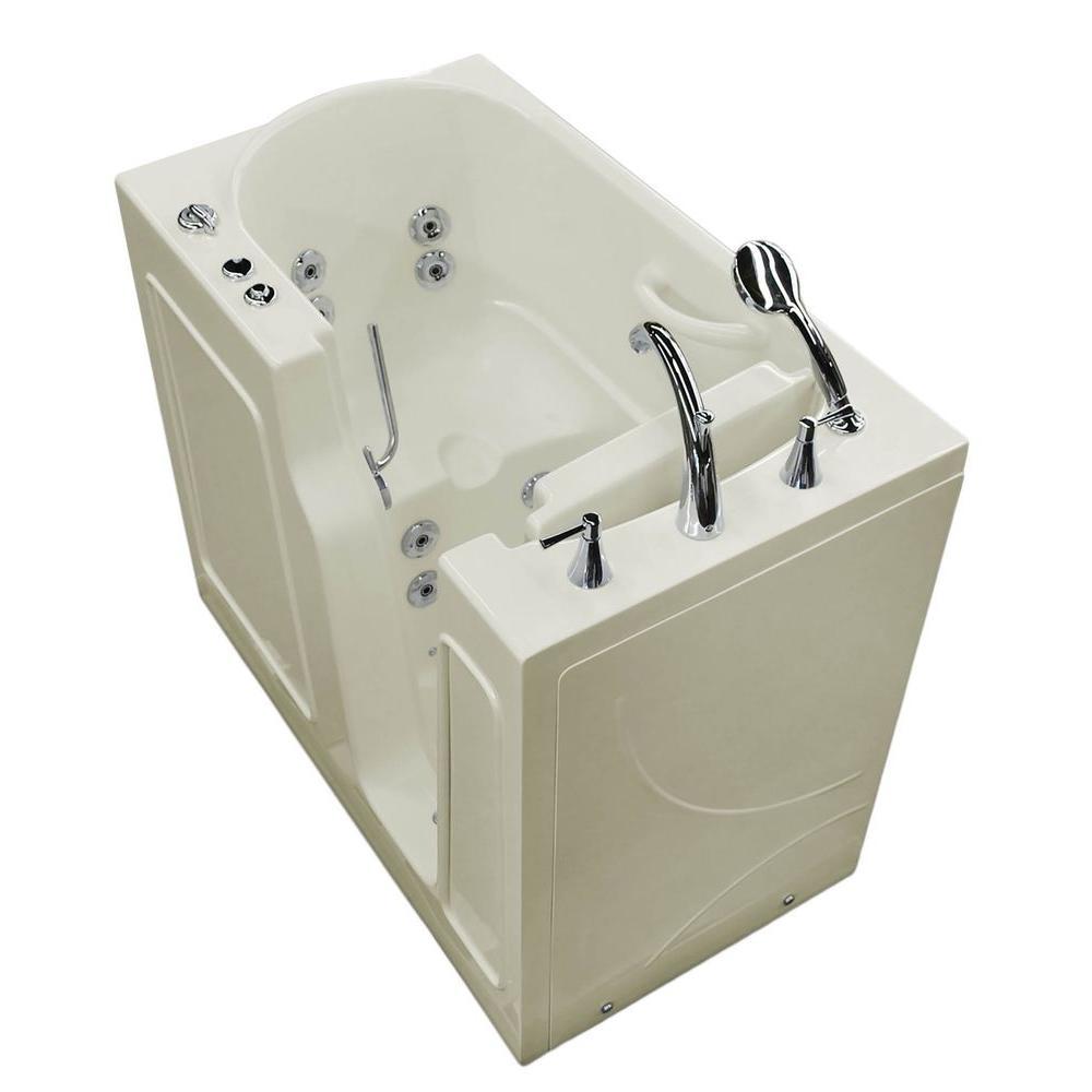 Nova Heated 3.9 ft. Walk-In Whirlpool Bathtub in Biscuit with Chrome