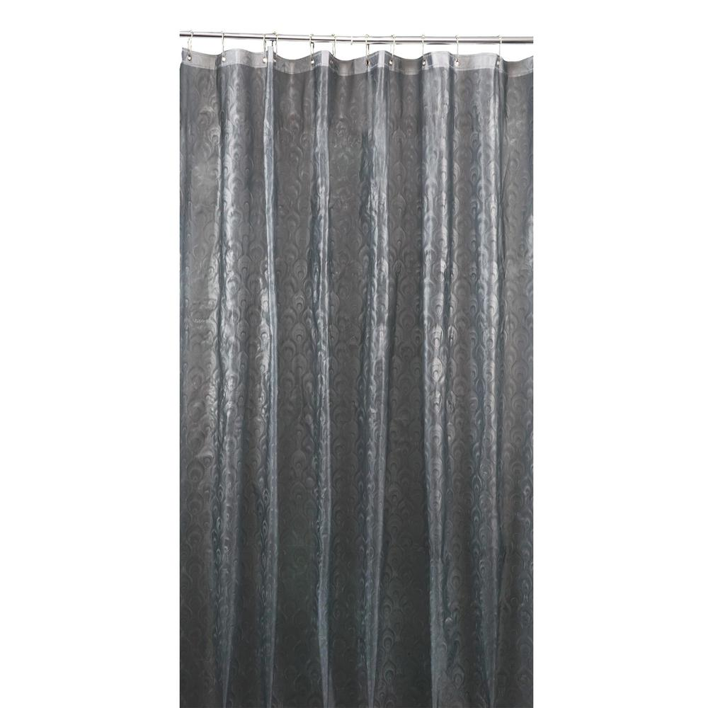 Bath Bliss 3D EVA  70 in. x 72 in. Peacock Design Grey Shower Curtain