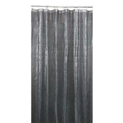 3D EVA  70 in. x 72 in. Peacock Design Grey Shower Curtain